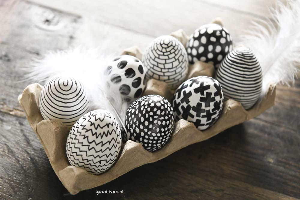 The eggs finished1, kleuren van eieren in zwart wit, Goodlives.nl