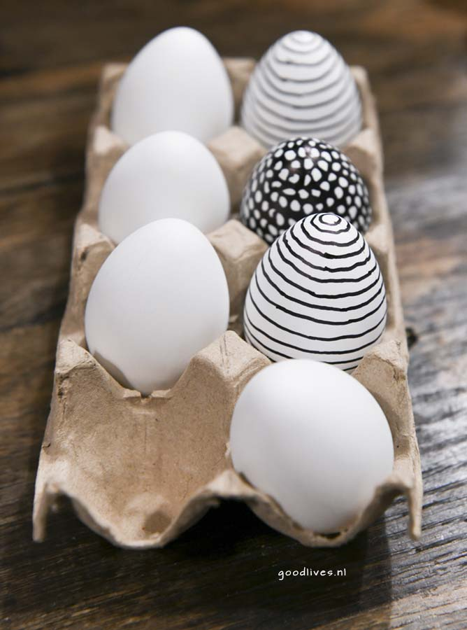 Unfinished eggs, painting eggs in Black and white, Easter 2018 Goodlives