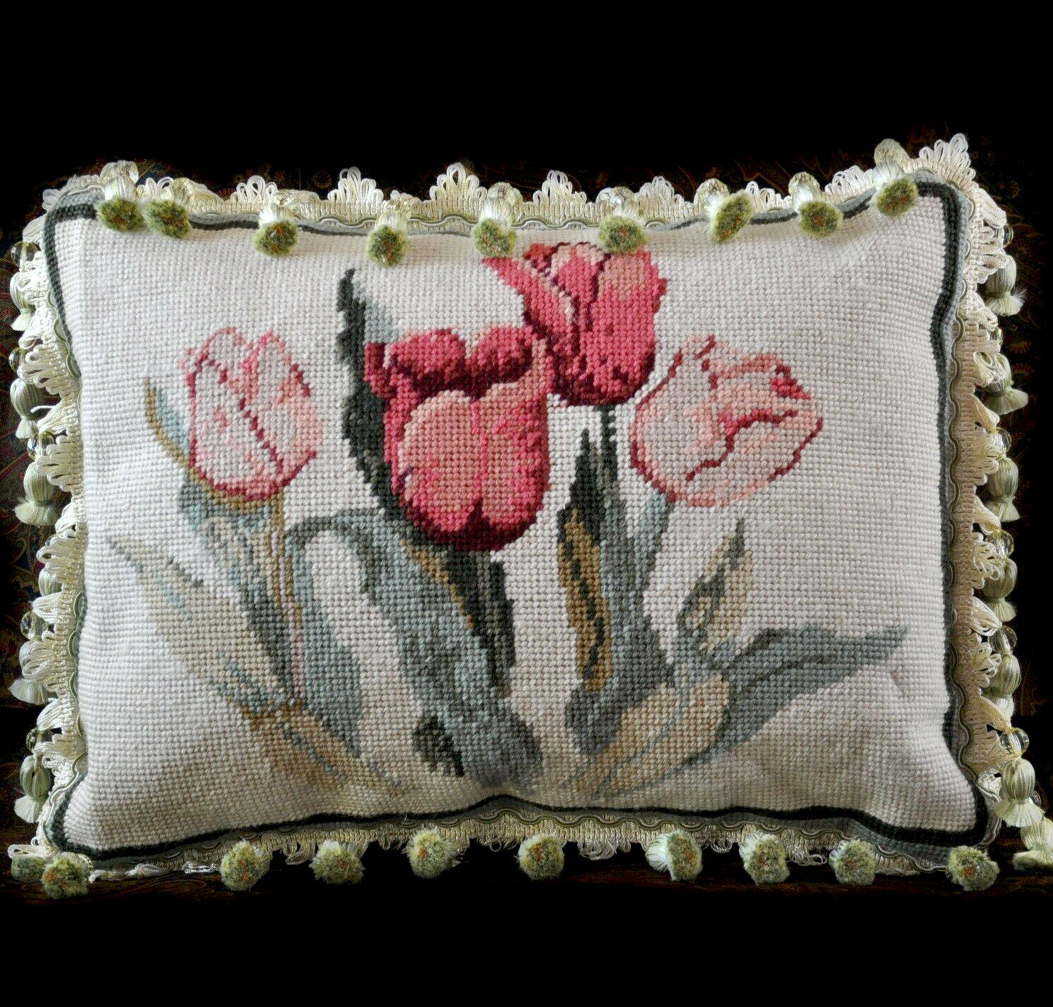 11 x 15 handmade custom made floral tulips wool needlepoint throw pillow case cushion cover with crystal beaded fringe 12980871