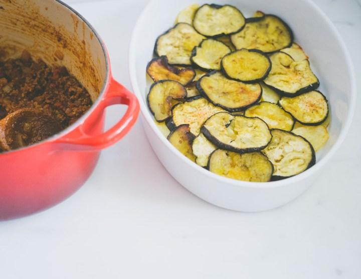 moussaka med potet og aubergine