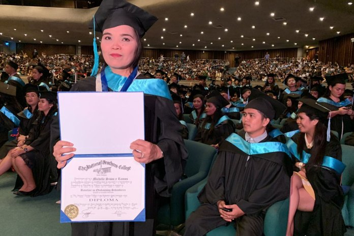 Single mother Michele Sison Cum laude graduate