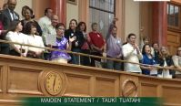 "New Zealand Parliament gallery sing ""Pinoy Ako"" to cheer KiwiNoy MP Paulo Garcia"