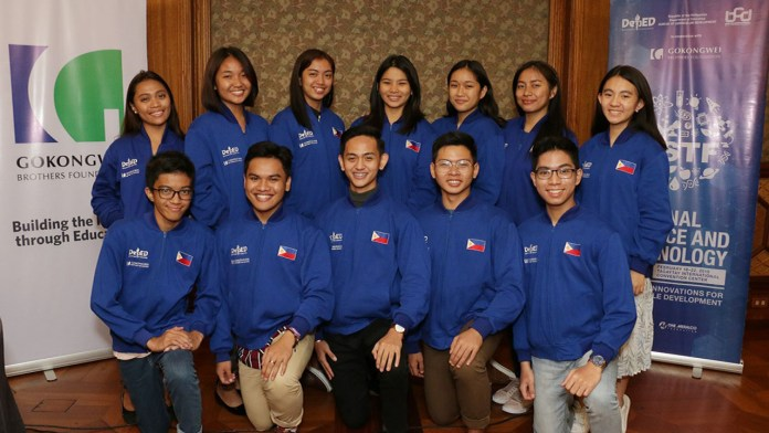 The 3-member Angeles City Science High School team innovates using local textile. Credits to Dep Ed