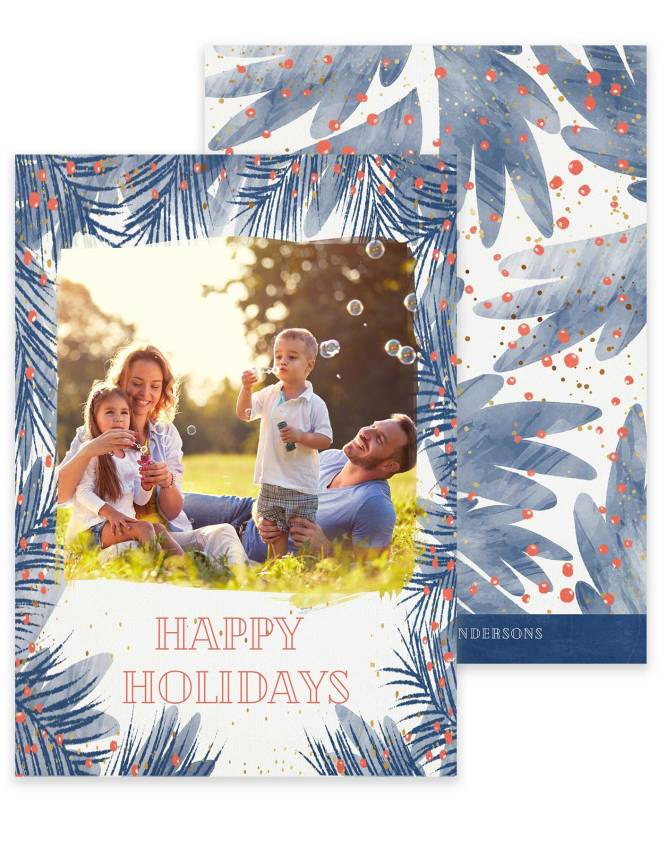 double sided happy holidays card