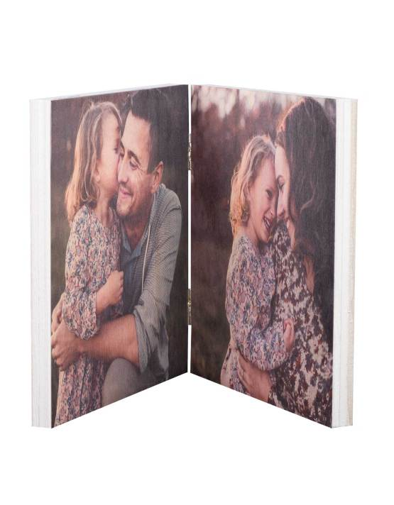 personalized photo print on wood table top decor