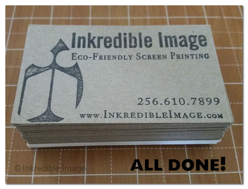Completed cardboard business cards