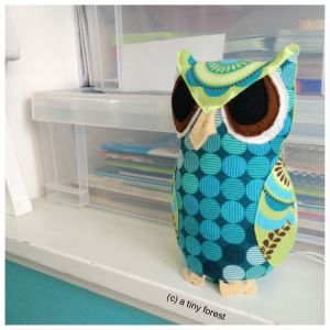 Handmade patchwork fabric stuffed owl
