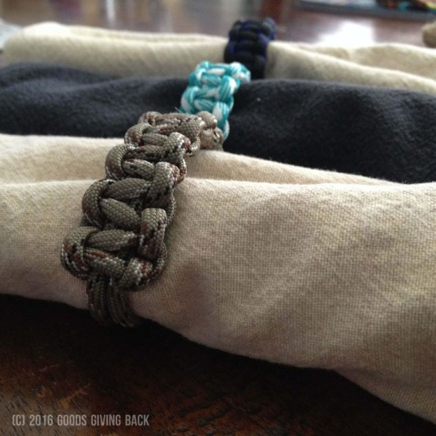 Paracord napkin rings in different colors