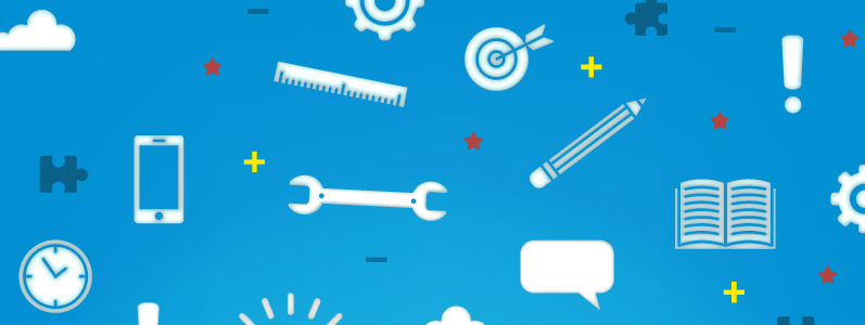 Various tools like a wrench and ruler and icons like a target and a gearon a blue background.