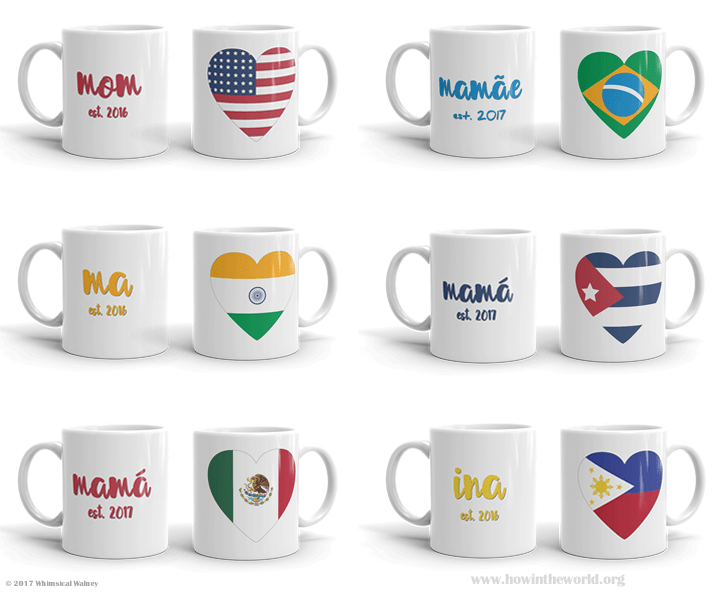 "Display of mugs with the word ""Mom"" in different languages and that country's flag in the shape of a heart"