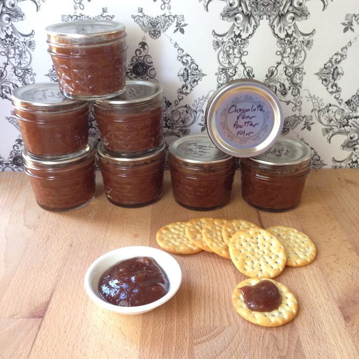 Chocolate Pear Butter in Jars