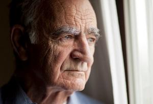 An elderly man gazes out the window