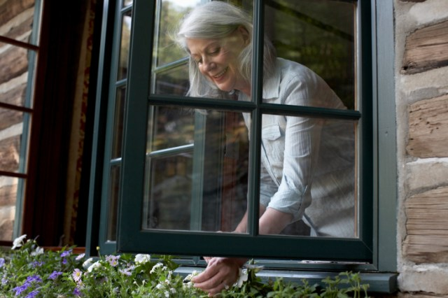 Older woman looking into flower box from window