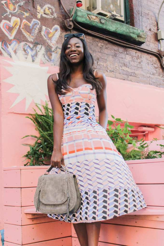 Pink midi dress by Yumi Kim on GoodTomiCha top black fashion blogger gray purse colorful personal brand