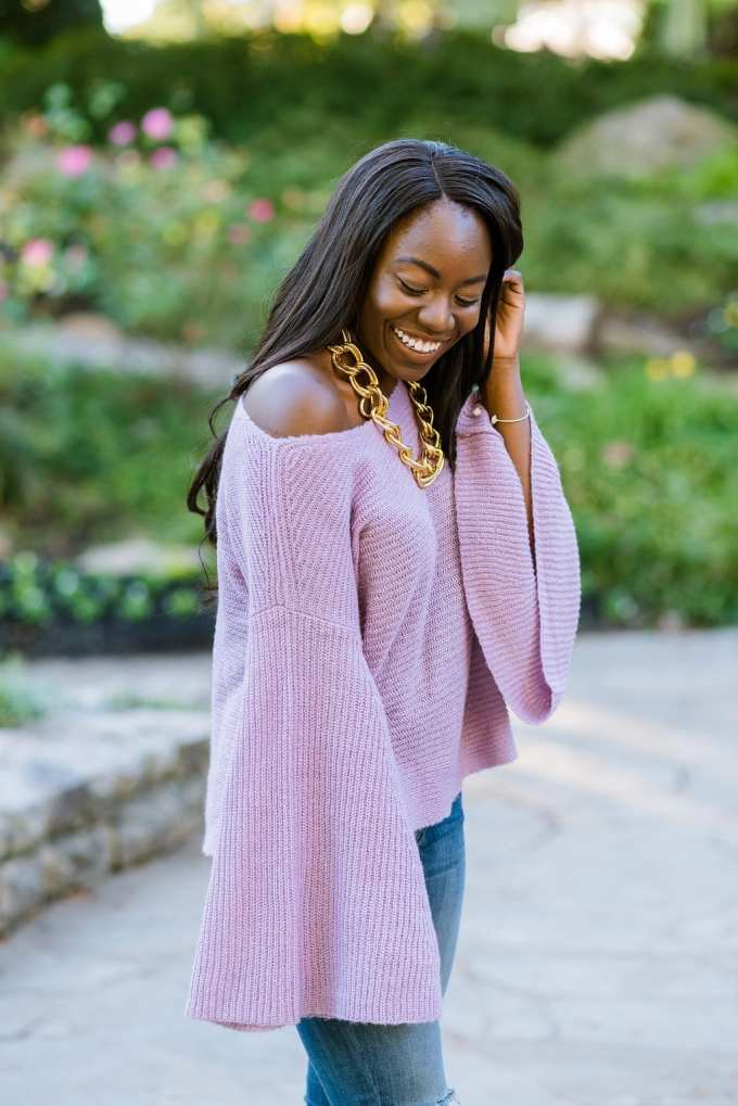 This bell-sleeve sweater from Nordstrom is super cute and only $39! Can you say #sweaterweather? Shop the look on the blog! | GoodTomiCha Southern Fashion and Lifestyle Blogger