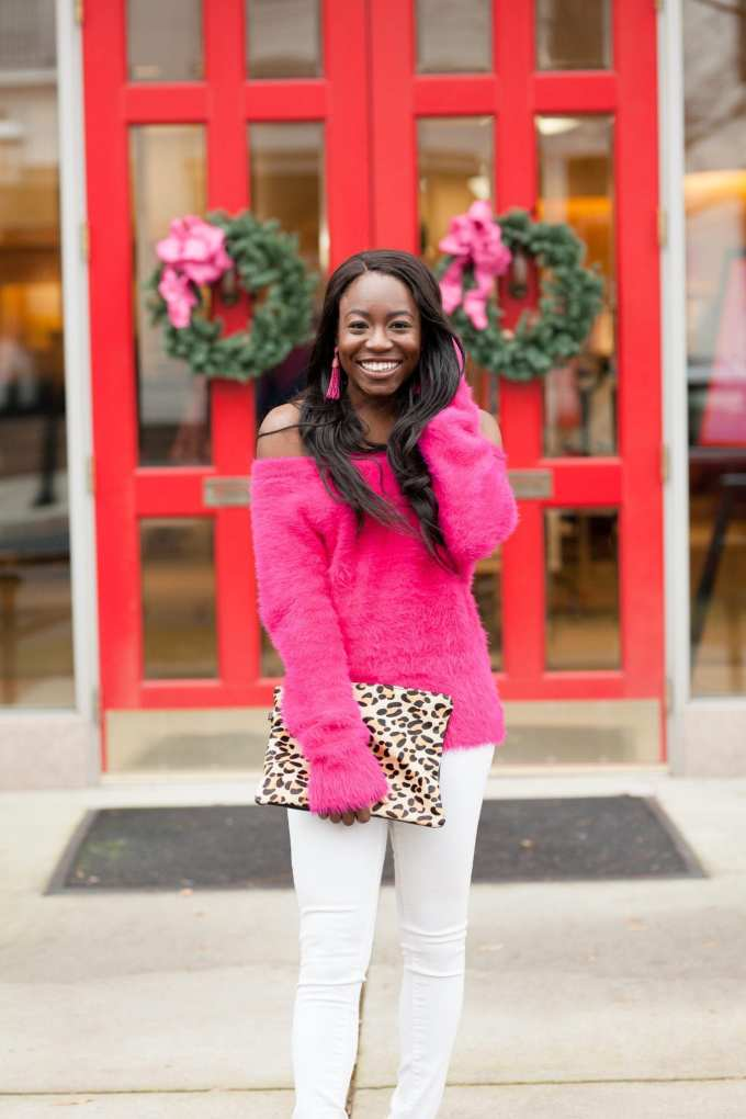 Southern fashion blogger, GoodTomicha, styles fuzzy, pink sweater from the lot! It's super soft and can be worn standard and off the shoulder. Check out the blog post to shop! GoodTomiCha.com