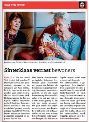 Bericht uit de krant IJssel en Lekstreek over Sinterklaas bij Aafje