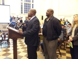 Batts speaking before Hartford City Council.
