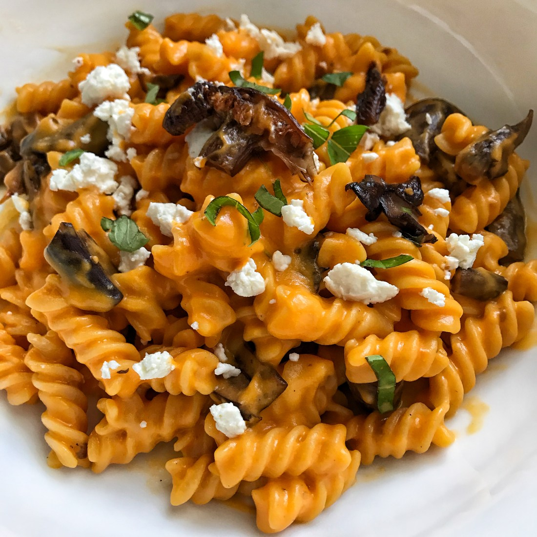 Balsamic Mushroom Pasta Sweet Potato Tomato Sauce