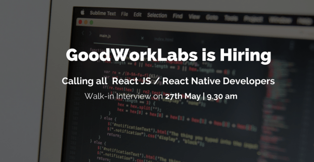 Job Opening for React JS / React Native Developers
