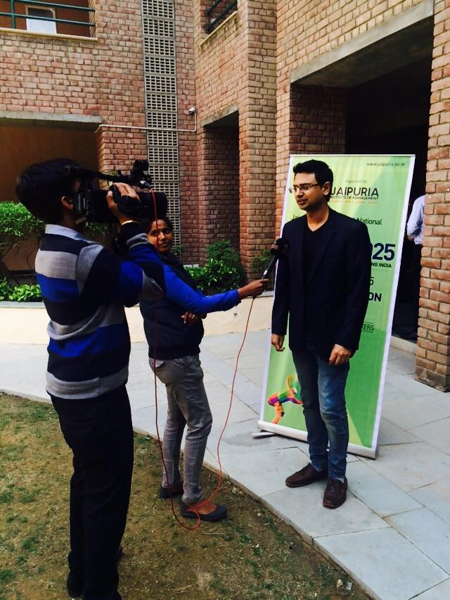 Vishwas Mudagal covered by media offstage Youth 2025 at Jaipuria Institutute of Management
