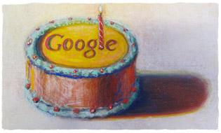 Feliz 12º cumpleaños Google, por Wayne Thiebaud. Imagen utilizada con permiso de VAGA NY