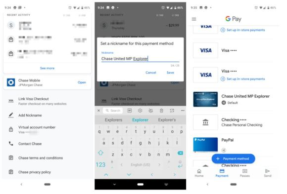 google pay card names