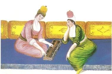 18. yüzyıl mangala oynayan iki kadın