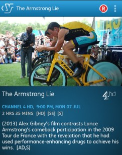 The Armstrong Lie (YouView app screenshot)