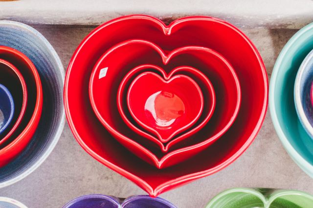 heart ceramics bowls