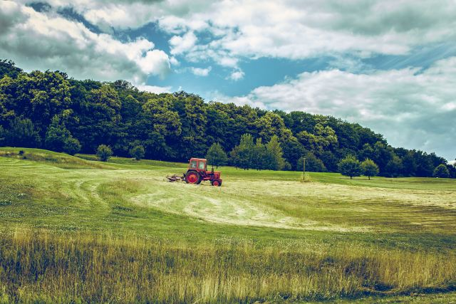 Tractor on farmland