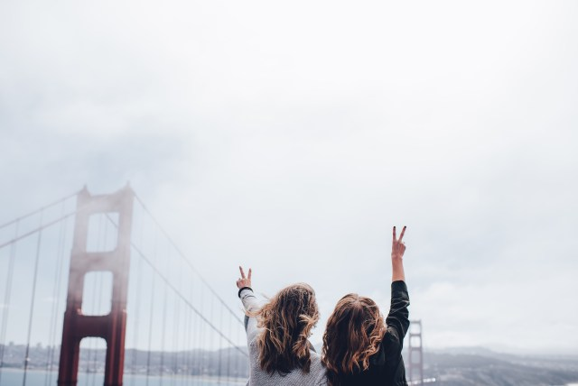 Peace signs at the golden gate bridge