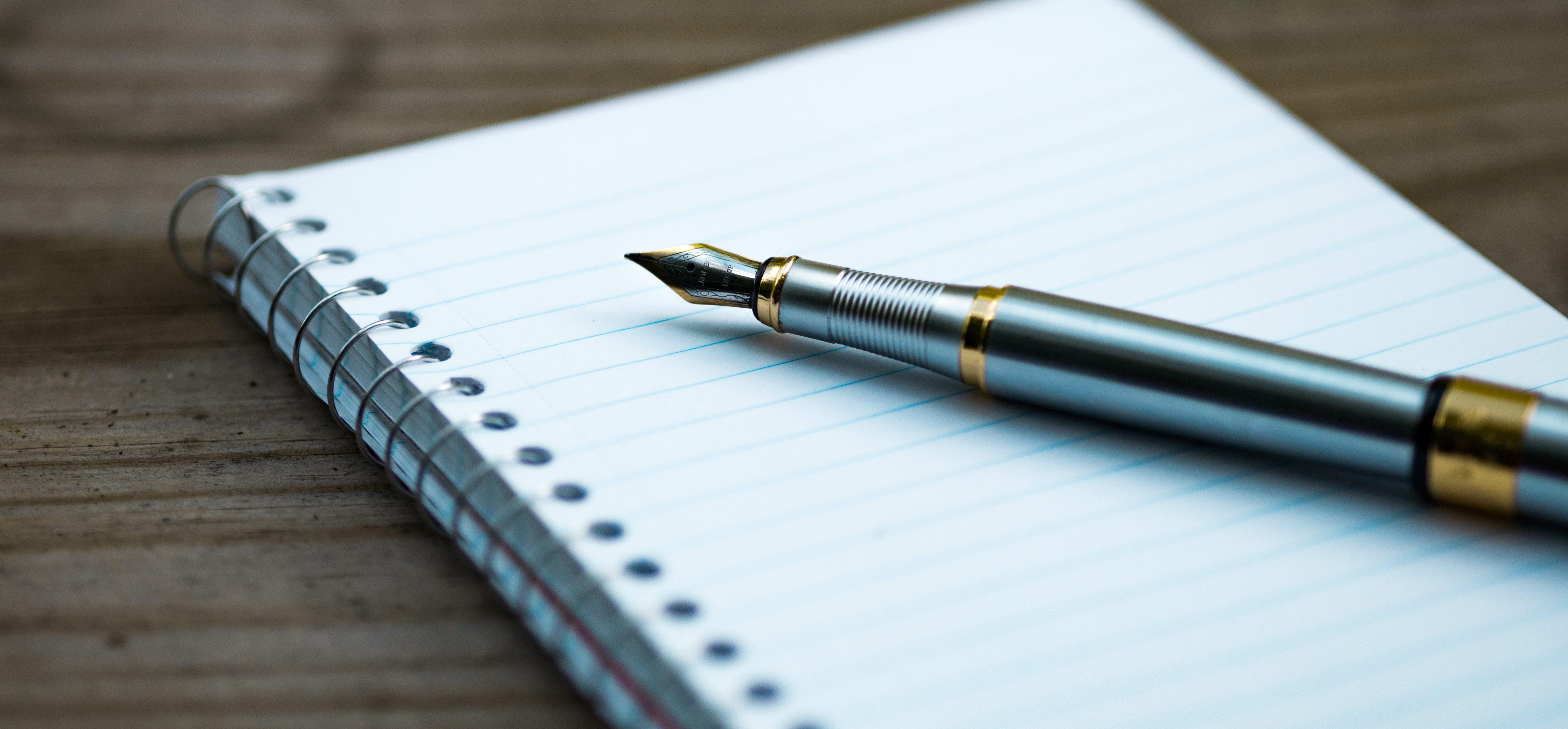 Fancy estate planning pen on notebook