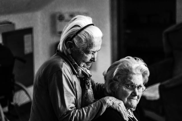 two senior citizen women