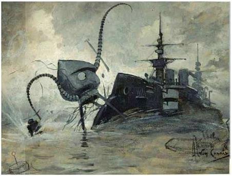 """Drawing by Henrique Alvim Corréa for the novel The War of the Worlds, showing a Martian fighting-machine battling with the warship Thunder Child."" Click the link for the source of the picture and the quote."