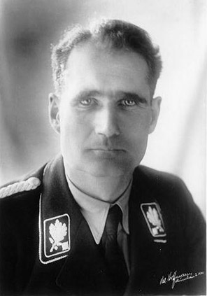 A particularly disturbing image of Rudolf Hess.