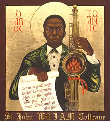 "Here we see that ""holy fire"" literalized. Click the image for an article on the Church of St. John Coltrane."