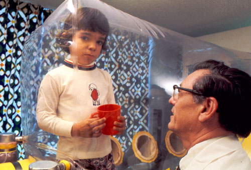 """David Vetter, the famous """"boy in the bubble"""" from the 1970s. The """"germ isolator"""" bubble treatment mentally damaged him, as explained in this article about his story."""