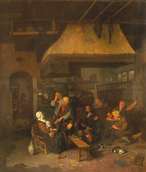 Cornelius Dusart: Tavern scene. (Oil painting, c. 1680.) Click image for source.