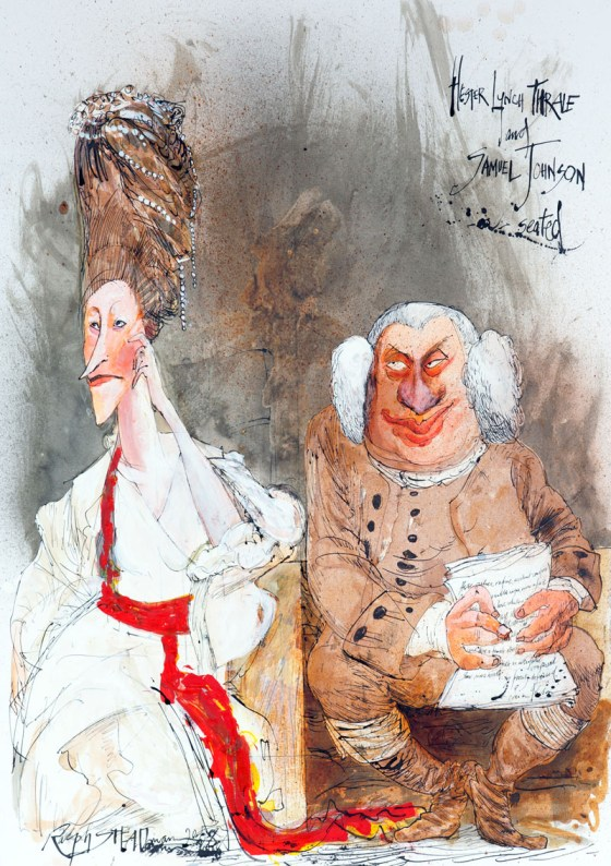 A wonderful drawing of Hester Lynch Thrale and Samuel Johnson, as drawn by Ralph Steadman--it's really telling that these two endure so long in cultural memory that they're being drawn even in our own era! Click to see more of Mr. Steadman's wonderful art!