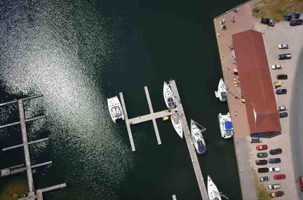Arial view of boats docked at Gore Bay marina.