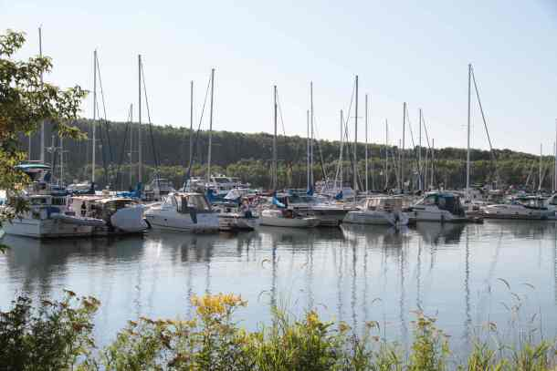Boats docked at Gore Bay marina.