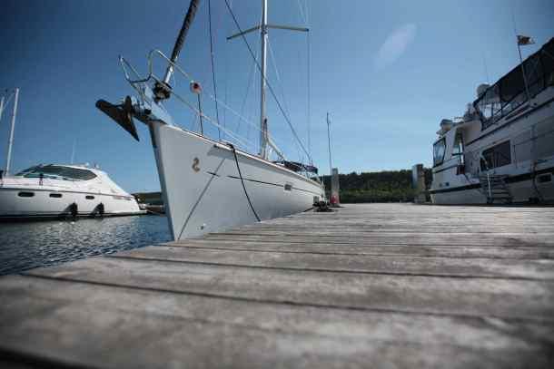 Sailboat tied at Gore Bay docks.