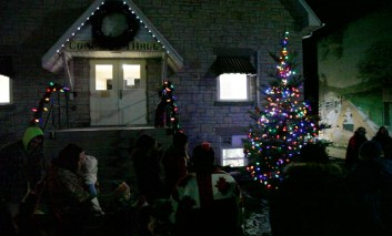 Christmas tree with lights outside Gore Bay's Community Hall.