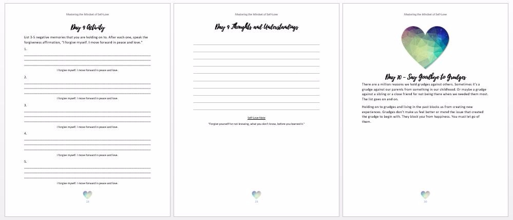 Printable self love workbook