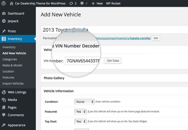 WordPress VIN Decoder