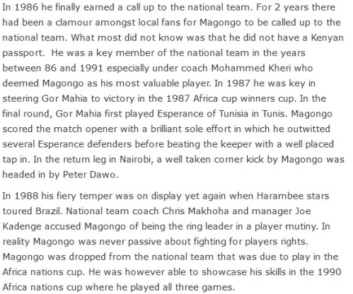 Remembering Gor Mahia And Harambee Stars Legend And