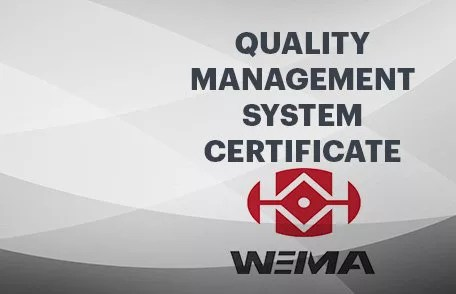 Weima Quality Management Certificate