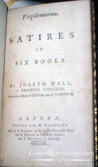 Hall-Joseph-Virgidemiarum-Satires in Six Books-Cover