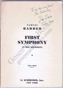Barber - First Symphony - Signed